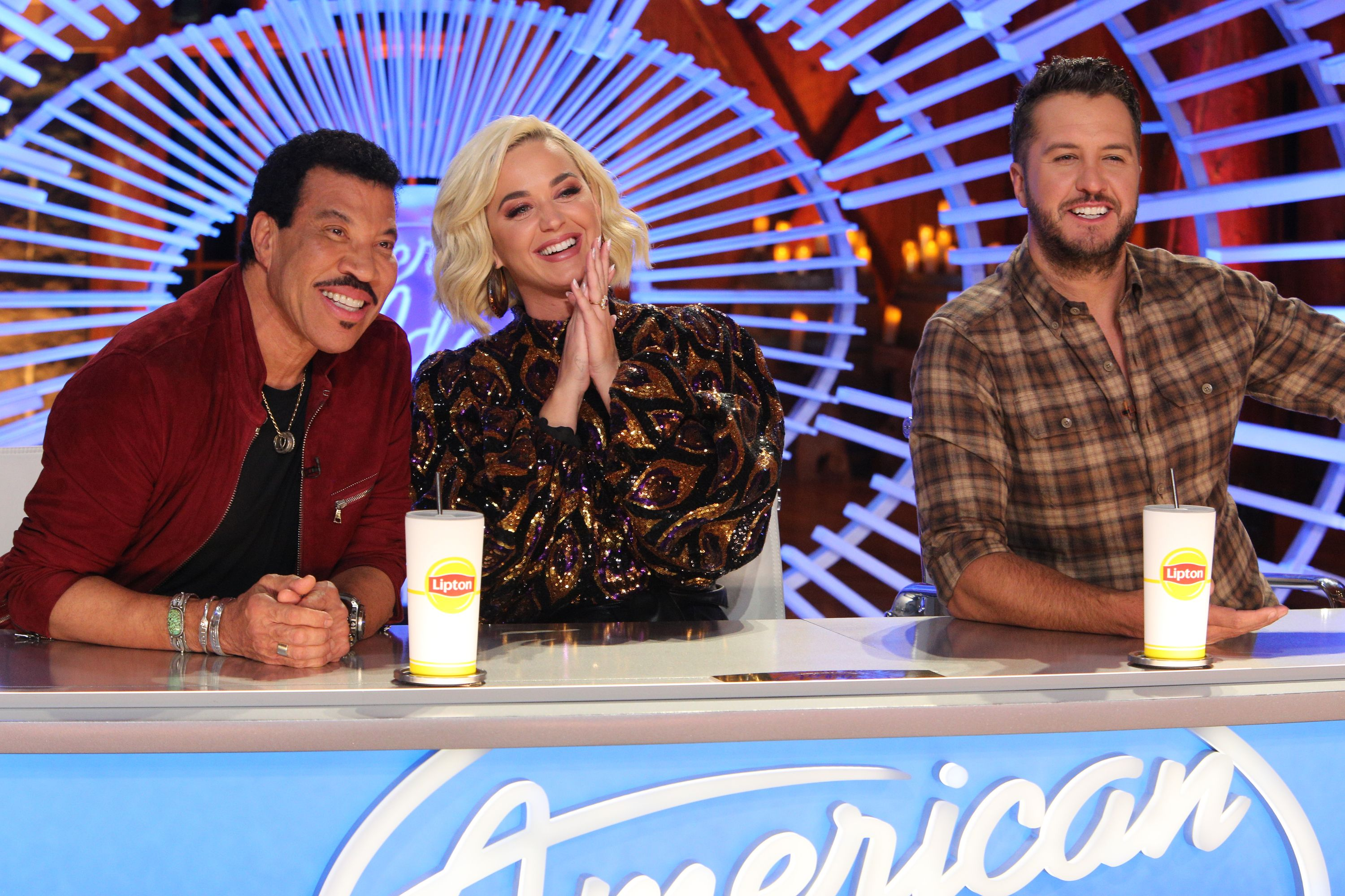 """Lionel Richie, Katy Perry, and Luke Bryan on the set of """"American Idol"""" 