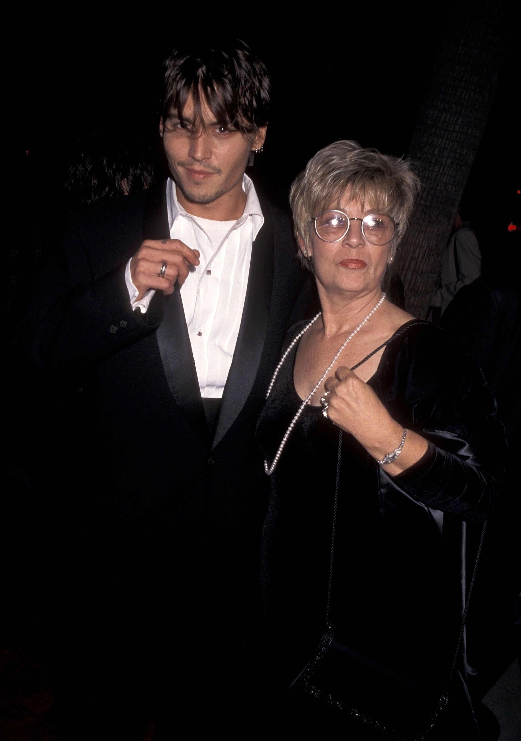 "Johnny Depp and mother Betty Sue Wells at the ""Nick of Time"" Beverly Hills Premiere in 1995 