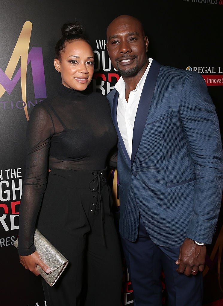 """Morris Chestnut (right) and wife Pam Byse attend the Premiere Of Sony Pictures Releasing's """"When The Bough Breaks"""" at Regal LA Live Stadium 