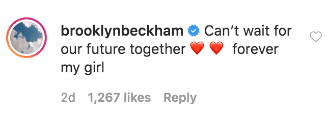 Brooklyn Beckham comments onNicola Peltzbirthday tribute to him for his 21stbirthday | Source: Instagram.com/nicolaannepeltz