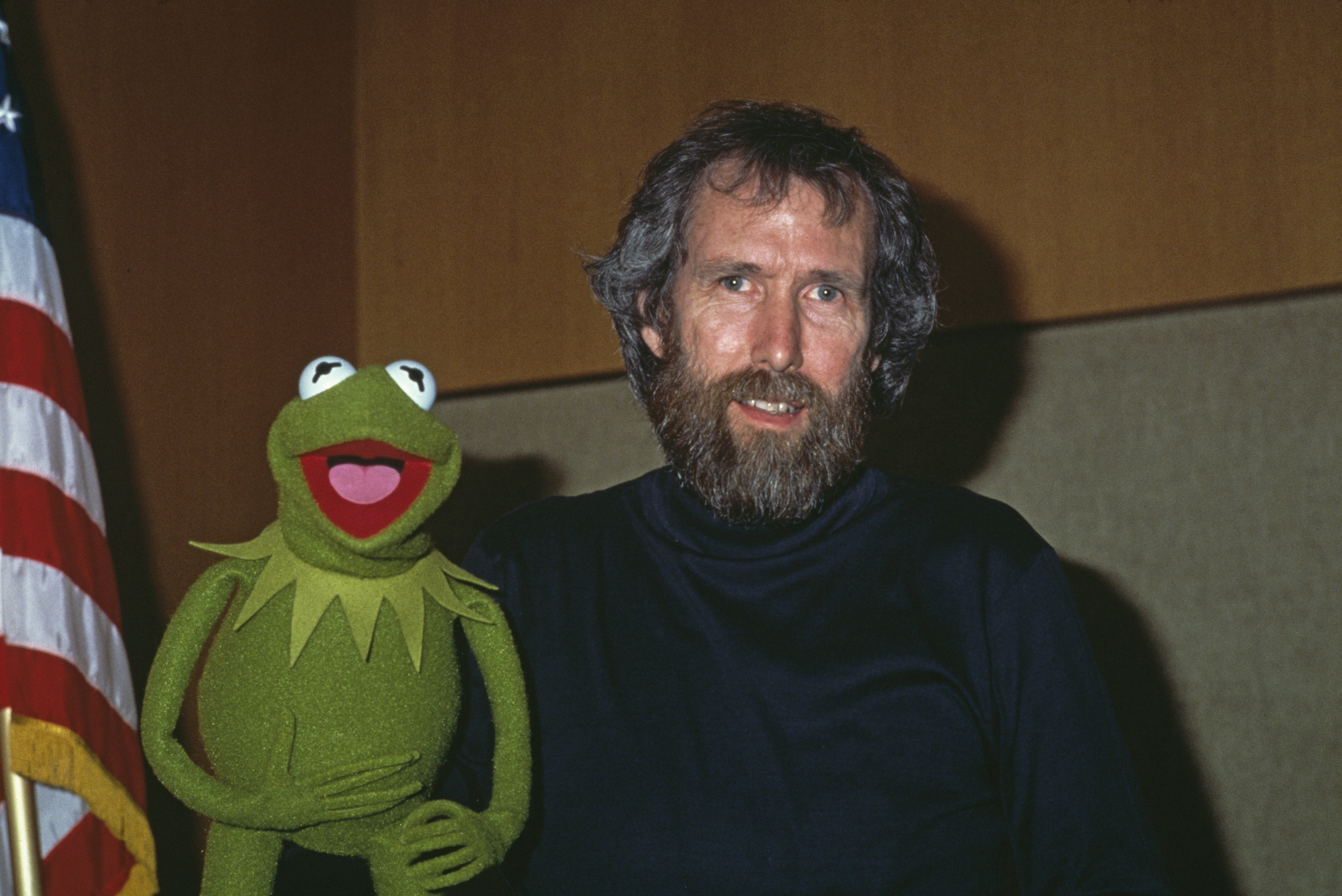 American puppeteer and filmmaker Jim Henson (1936 - 1990) with his best-known Muppet character, Kermit the Frog, January 1984.   Source: Getty Images