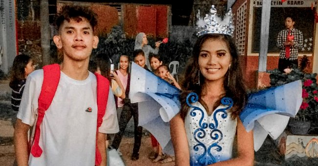 Brother stands next to his sister as she wears the stunning blue prom dress he made her from scratch | Photo: Facebook/melvinmaverick.oyao