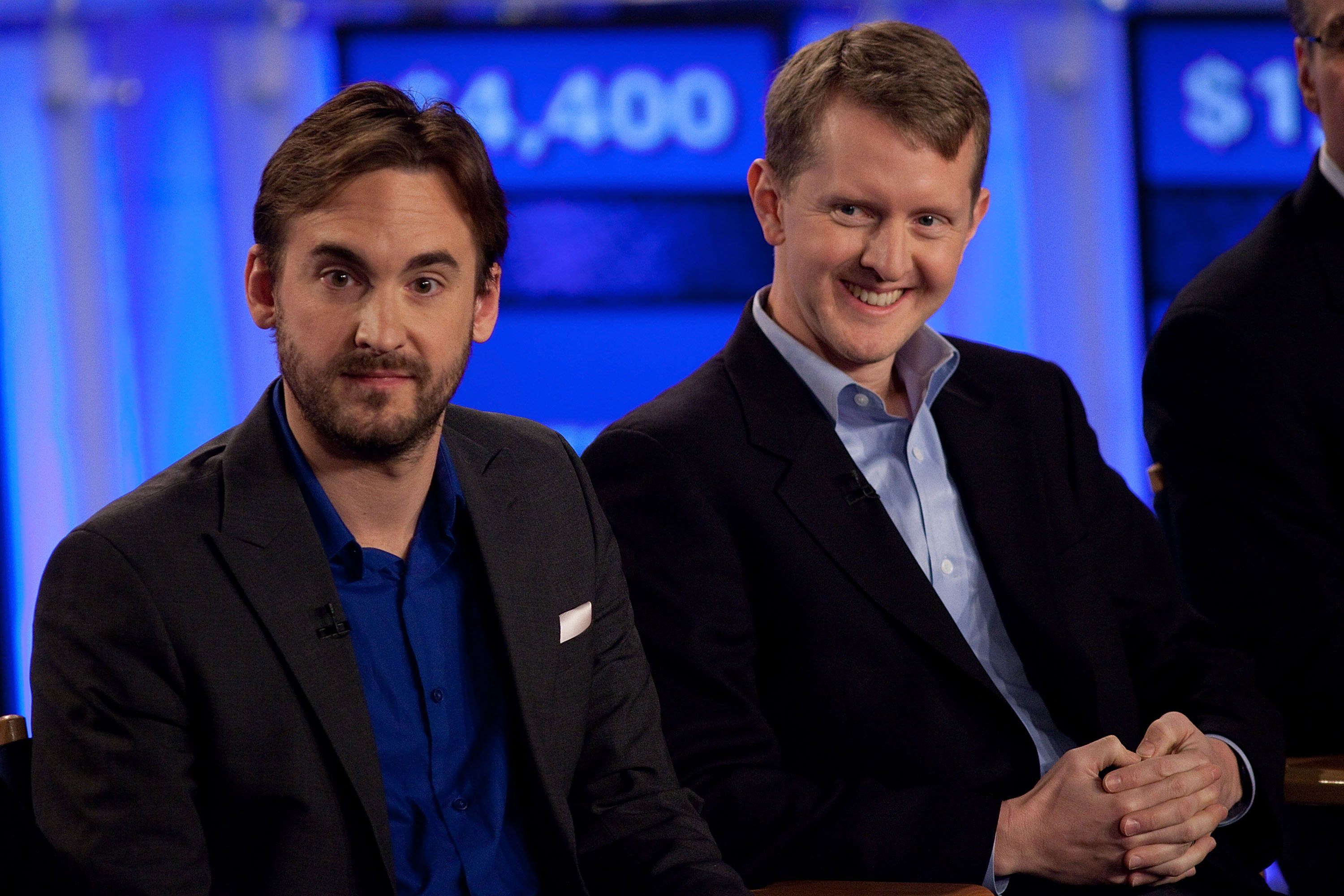 "Brad Rutter and Ken Jennings attends a press conference for ""Jeopardy!"" in Yorktown Heights, New York on January 13, 2011 