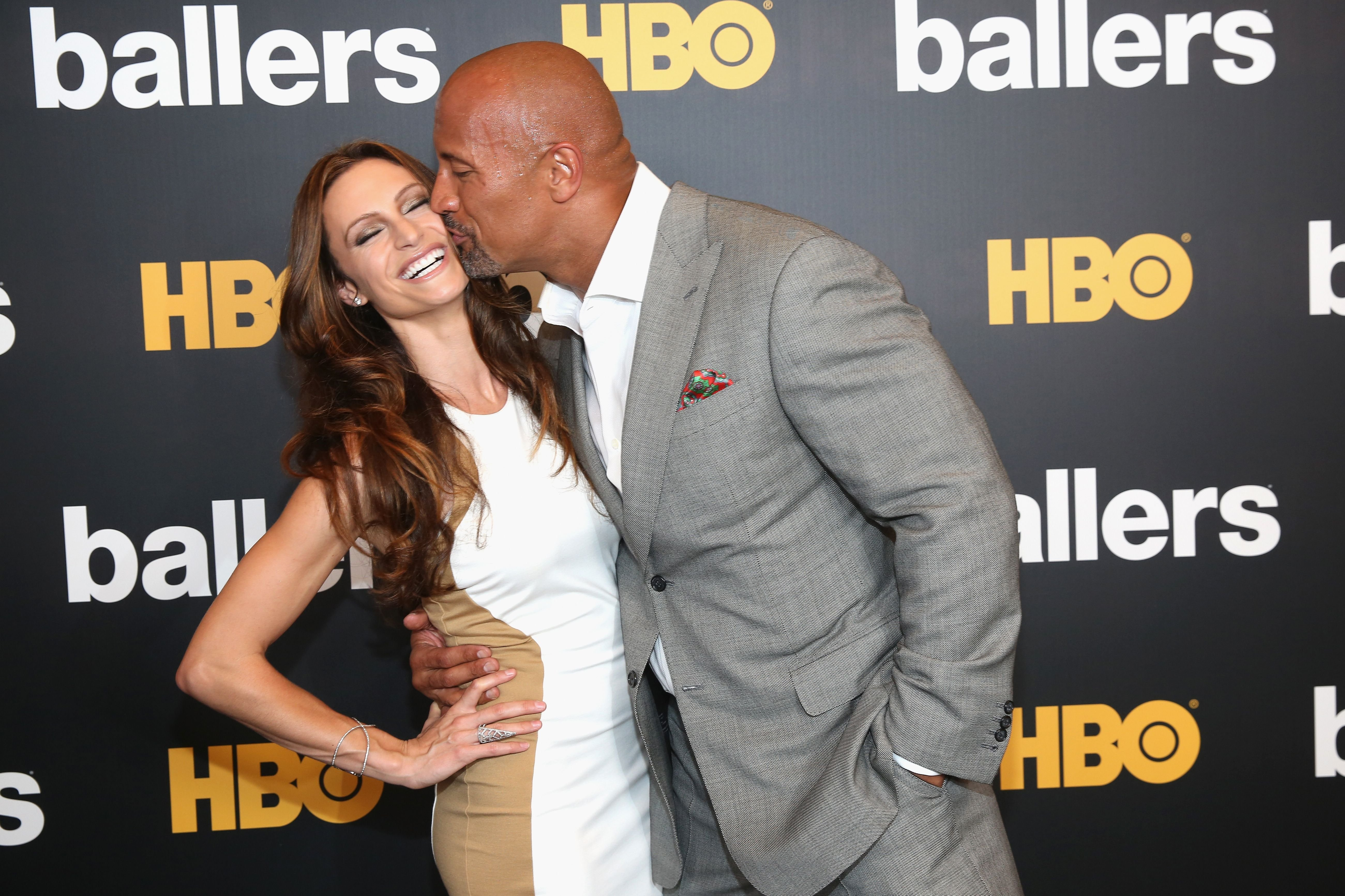 Dwayne Johnson and Lauren Hashian during the HBO 'Ballers' season 2 Red Carpet Premiere and Reception on July 14, 2016 at New World Symphony in Miami Beach, Florida.   Source: Getty Images