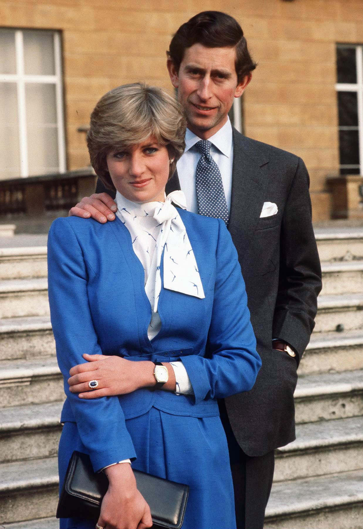 Lady Diana Spencer and Prince Charles pose during their engagement announcement day on February 24, 1981. | Source: Getty Images