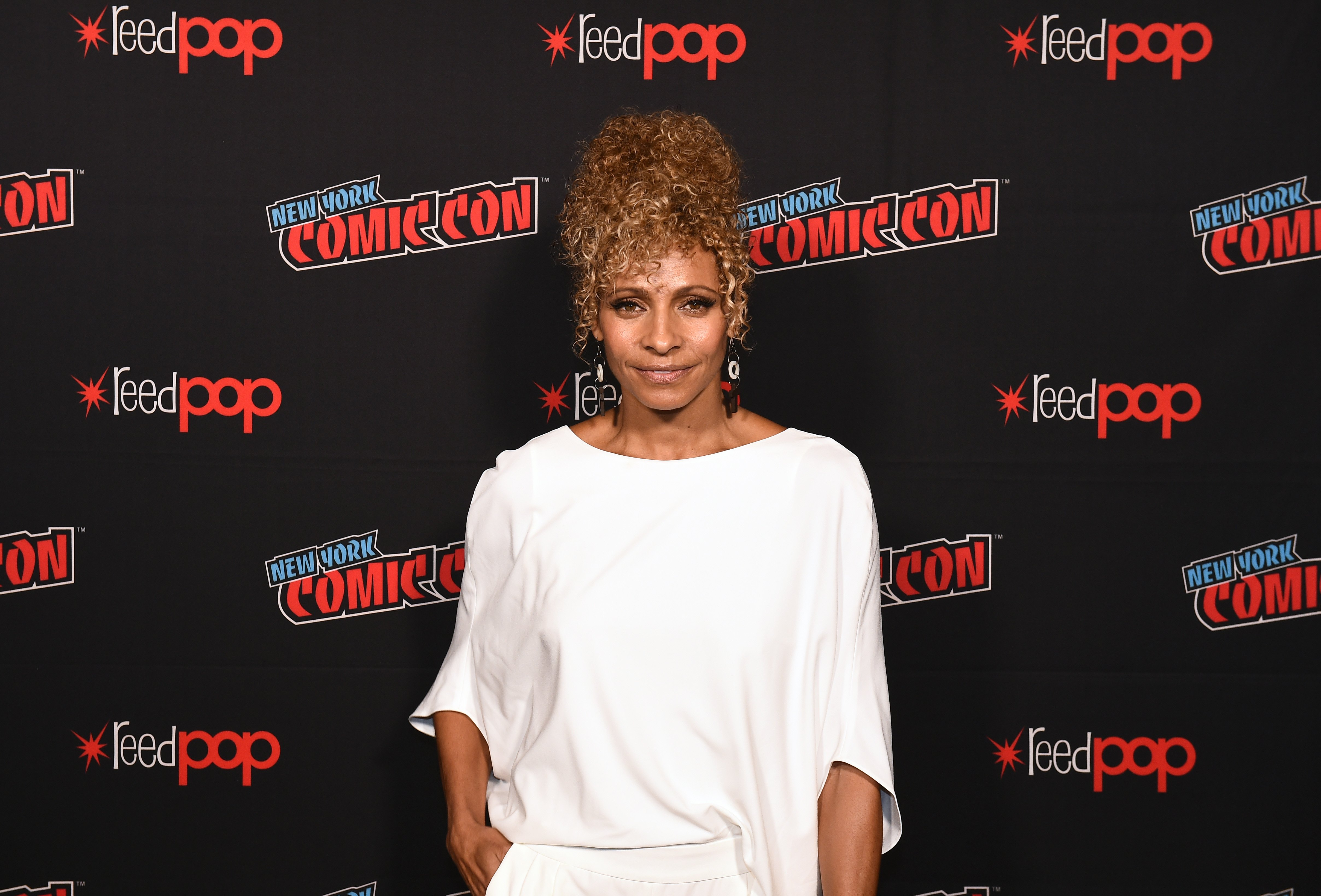 Michelle Hurd poses for a photo during New York Comic Con 2019 Day 3 at the Hulu Theater at Madison Square Garden on October 05, 2019, in New York City. | Source: Getty Images.