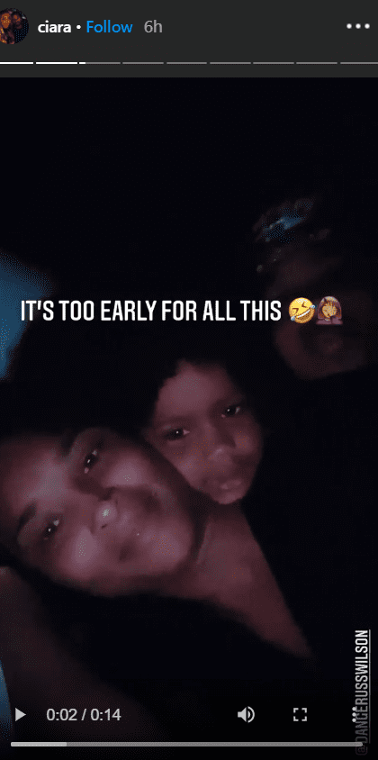 Screenshot of Ciara's Instagram stories with her kids in bed.   Source: Instagram.com/Ciara