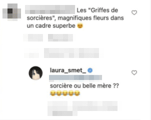 Réponse de Laura Smet d'un commentaire sur son Instagram. | Photo : Instagram Laura Smet