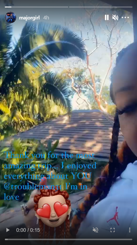 A screenshot of a video of Tiny Harris during a trip with T.I. | Photo: Instagram/Majorgirl