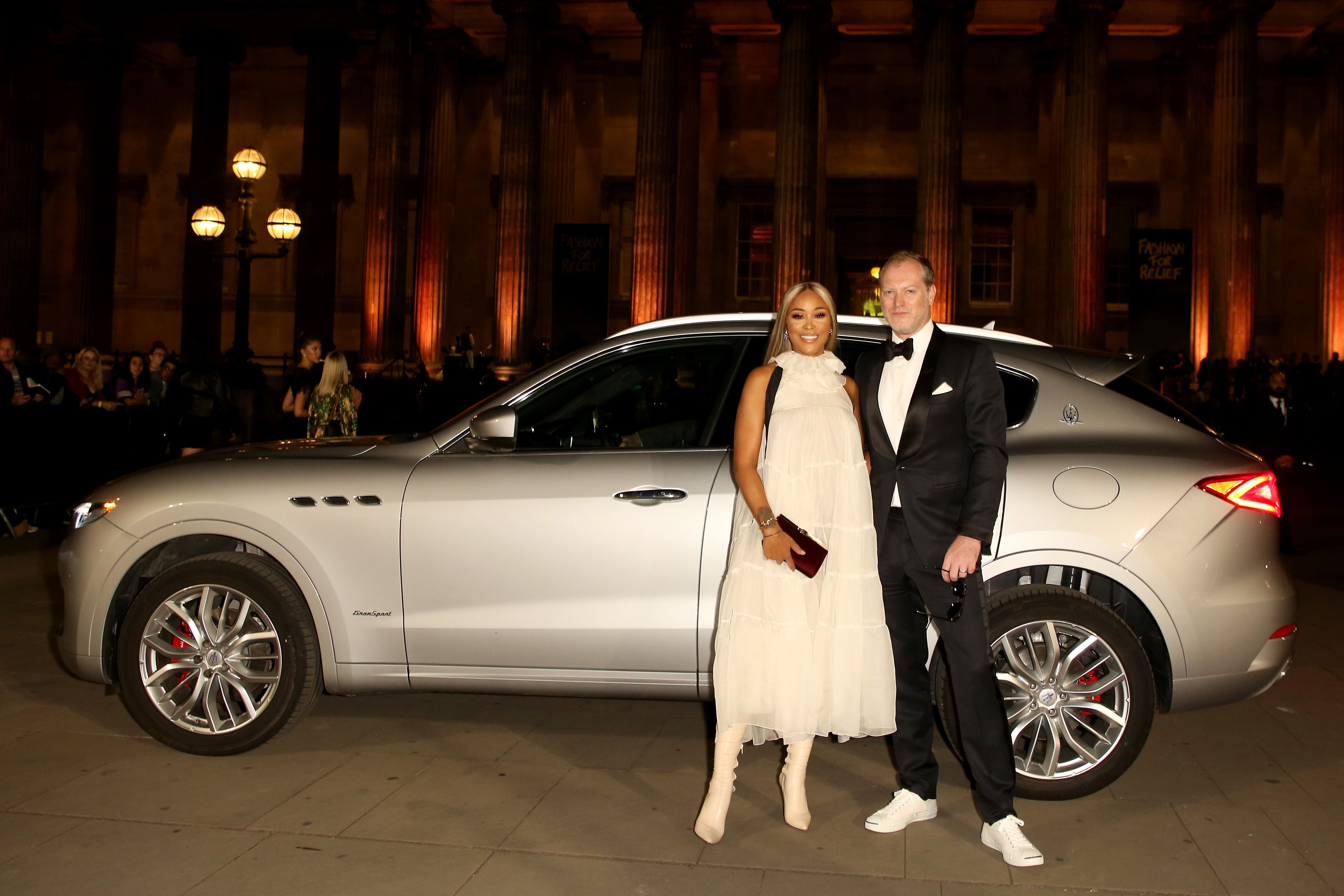 Eve and entrepreneur Maximillion Cooper arrive in a Maserati at Fashion For Relief at The British Museum on Sept. 14, 2019.   Photo: Getty Images
