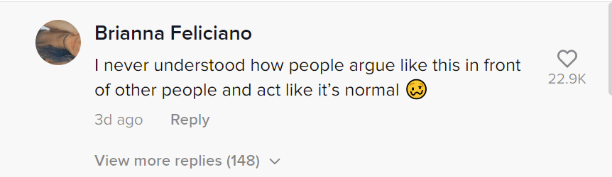 A user's comment on a video of a couple fighting at a showing. | Photo: tiktok.com/@alejandromedinarealtor