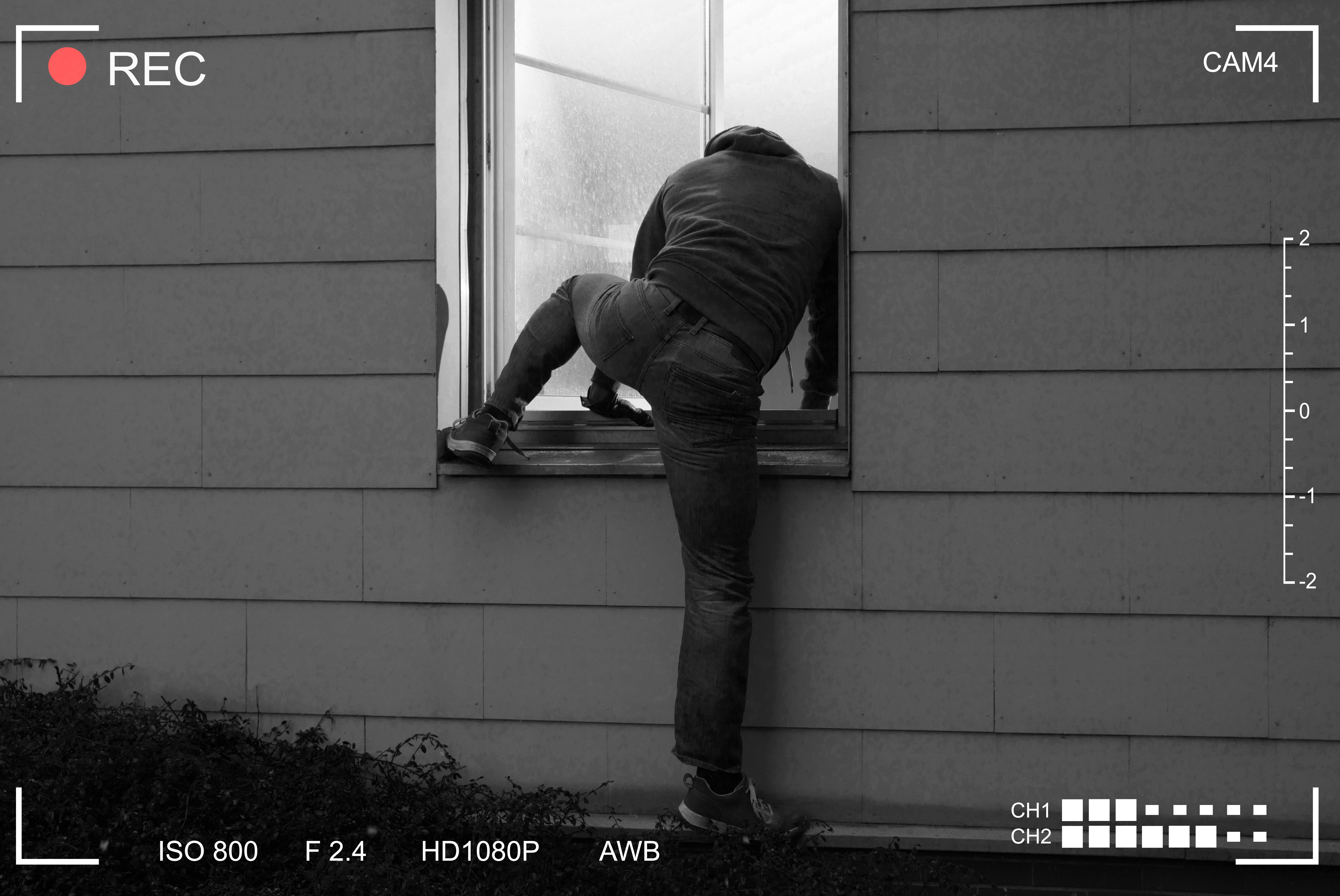 Thief is caught on camera as he attempts to break into a house via a window   Photo: Shutterstock/Andrey_Popov