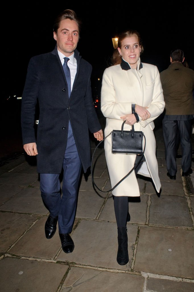 Princess Beatrice (R) and Edoardo Mapelli Mozzi seen attending Evgeny Lebedev's Christmas Party at a private North London residence | Photo: Getty Images