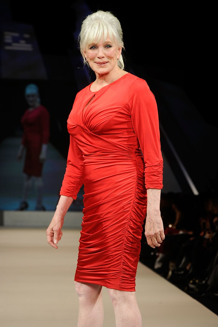 Linda Evans walking on the runway at The Heart Truth's Red Dress Collection 2012 Fashion Show in New York City, in February 2019. I Image: Getty Images.