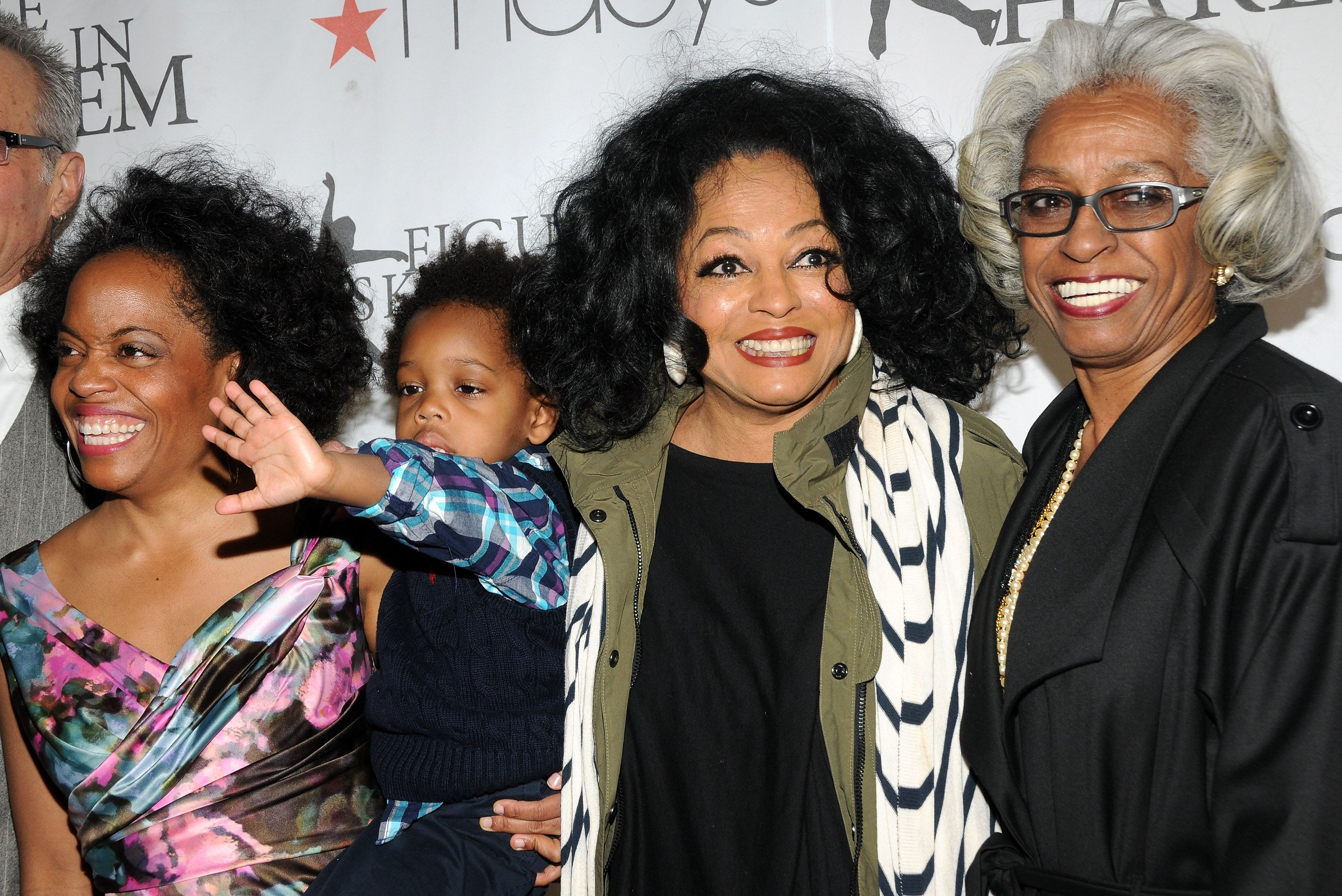 Rhonda Ross, Raif-Henok Emmanuel Kendrick, Diana Ross and Dr. Barbara Ross-Lee attend the 2012 Skating with the Stars gala at Wollman Rink - Central Park on April 2, 2012 in New York City.   Source: Getty Images