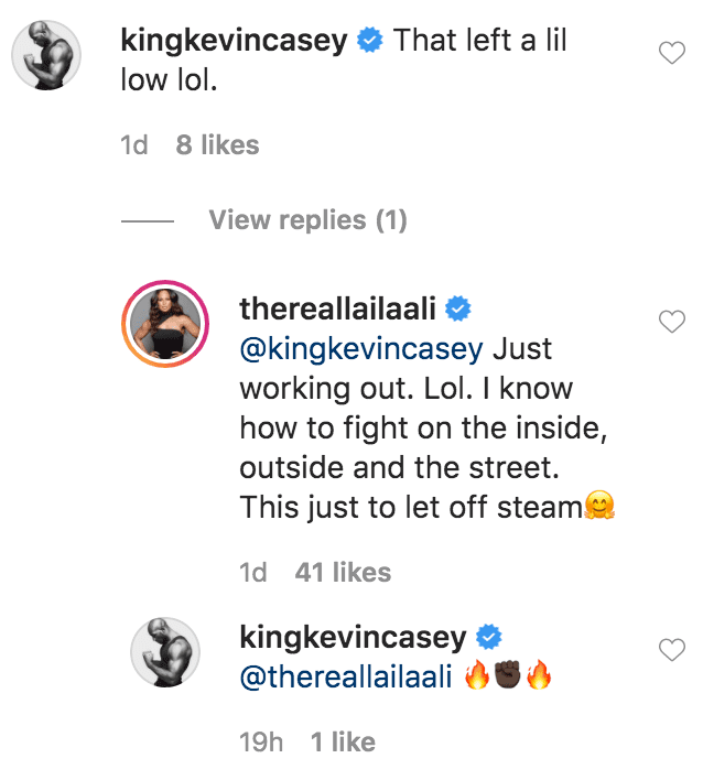 Kevin Casey commented on a video of Laila Ali practicing on a punching bag | Source: Instagram.com/thereallailaali