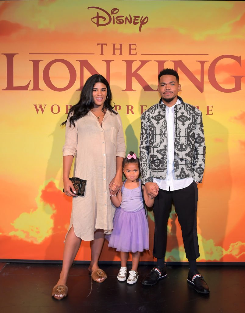 "Kirsten Corley, Kensli Bennett, and Chance The Rapper attend the World Premiere of Disney's ""THE LION KING"" at the Dolby Theatre 