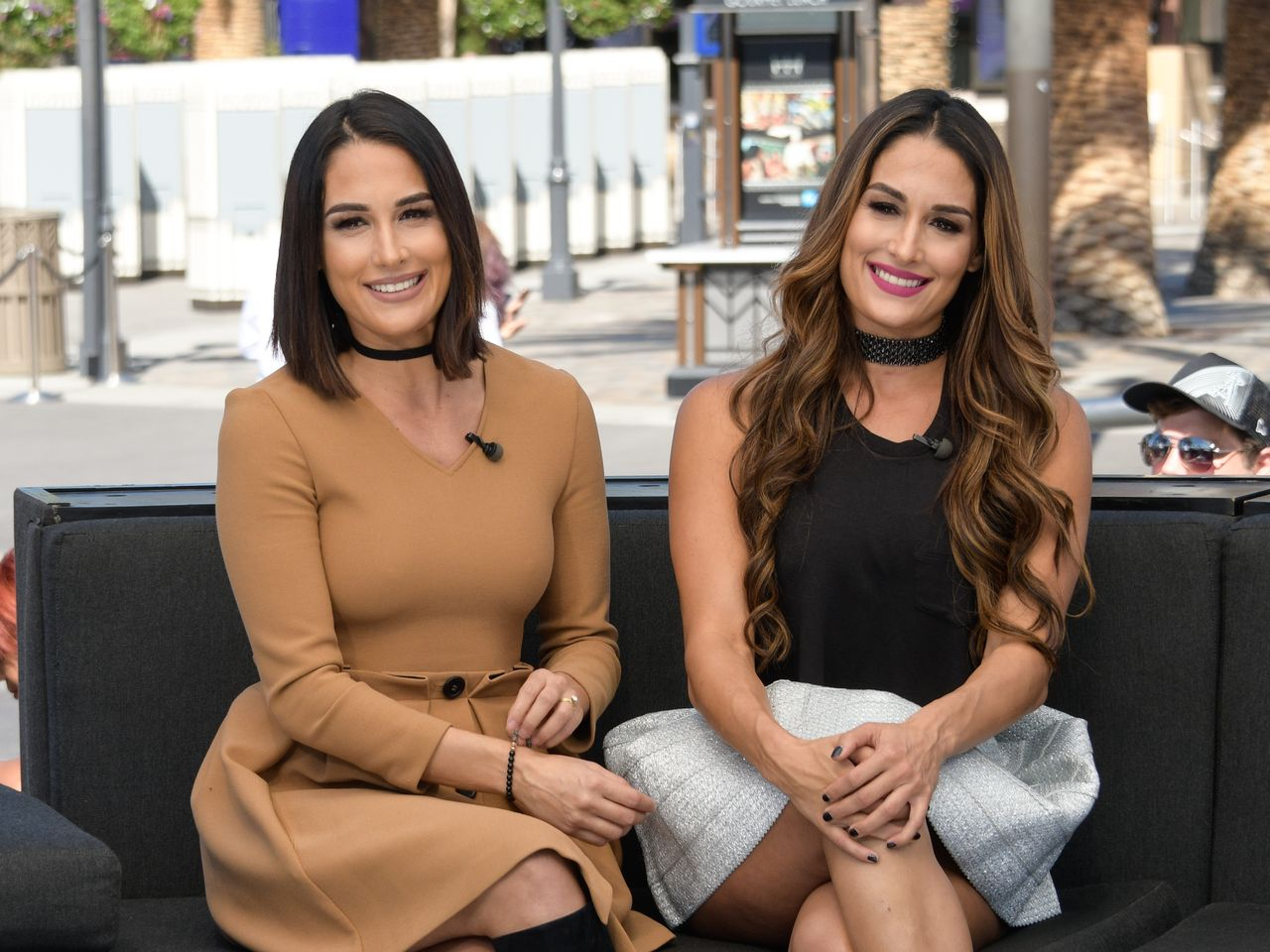 """Nikki and Brie Bella during their visit to """"Extra"""" at Universal Studios Hollywood on October 3, 2016 in Universal City, California. 