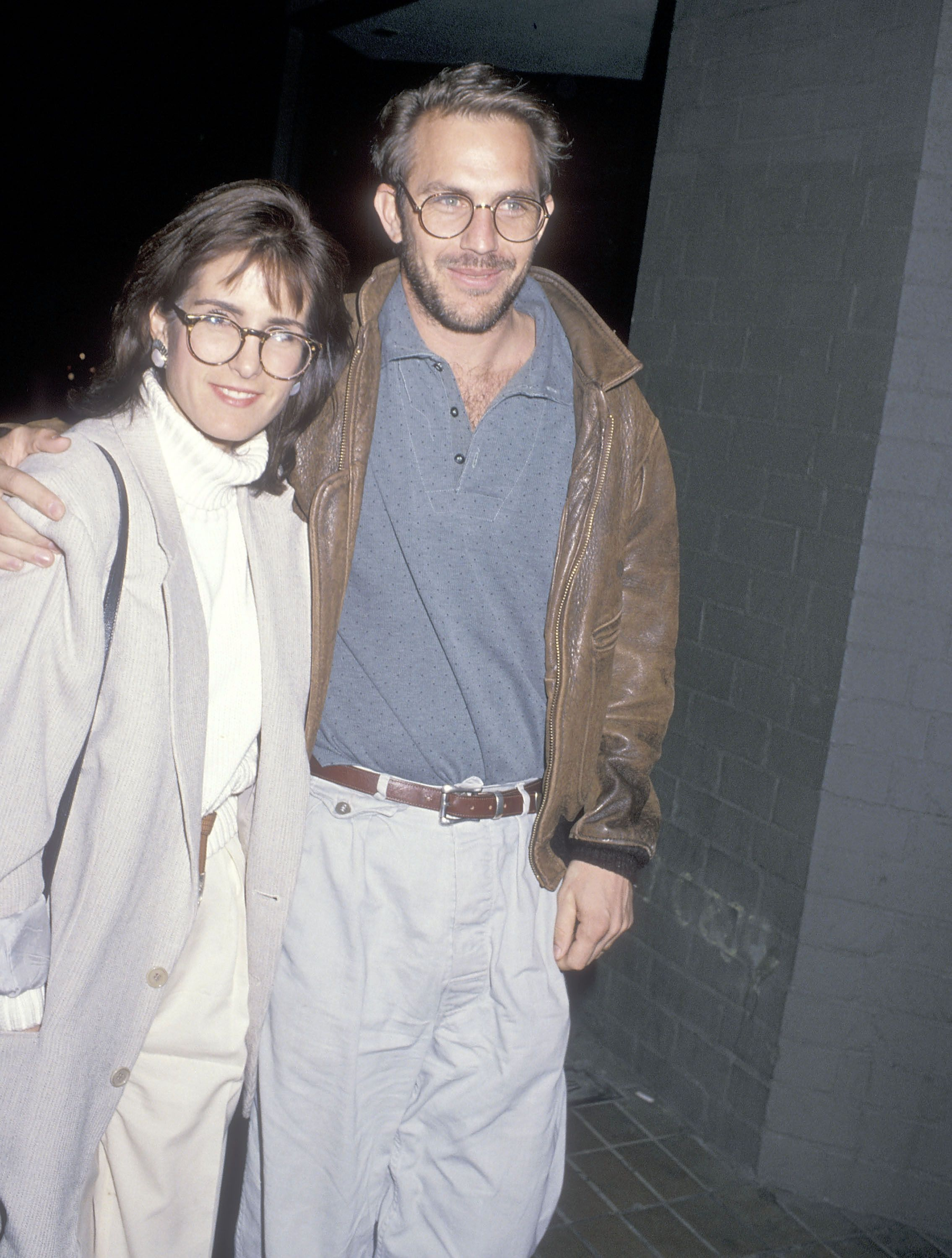 """Kevin Costner and ex-wife Cindy Costner attend a performance of the play """"Hurlyburly"""" on January 13, 1989 at the Westwood Playhouse in Westwood, California. 
