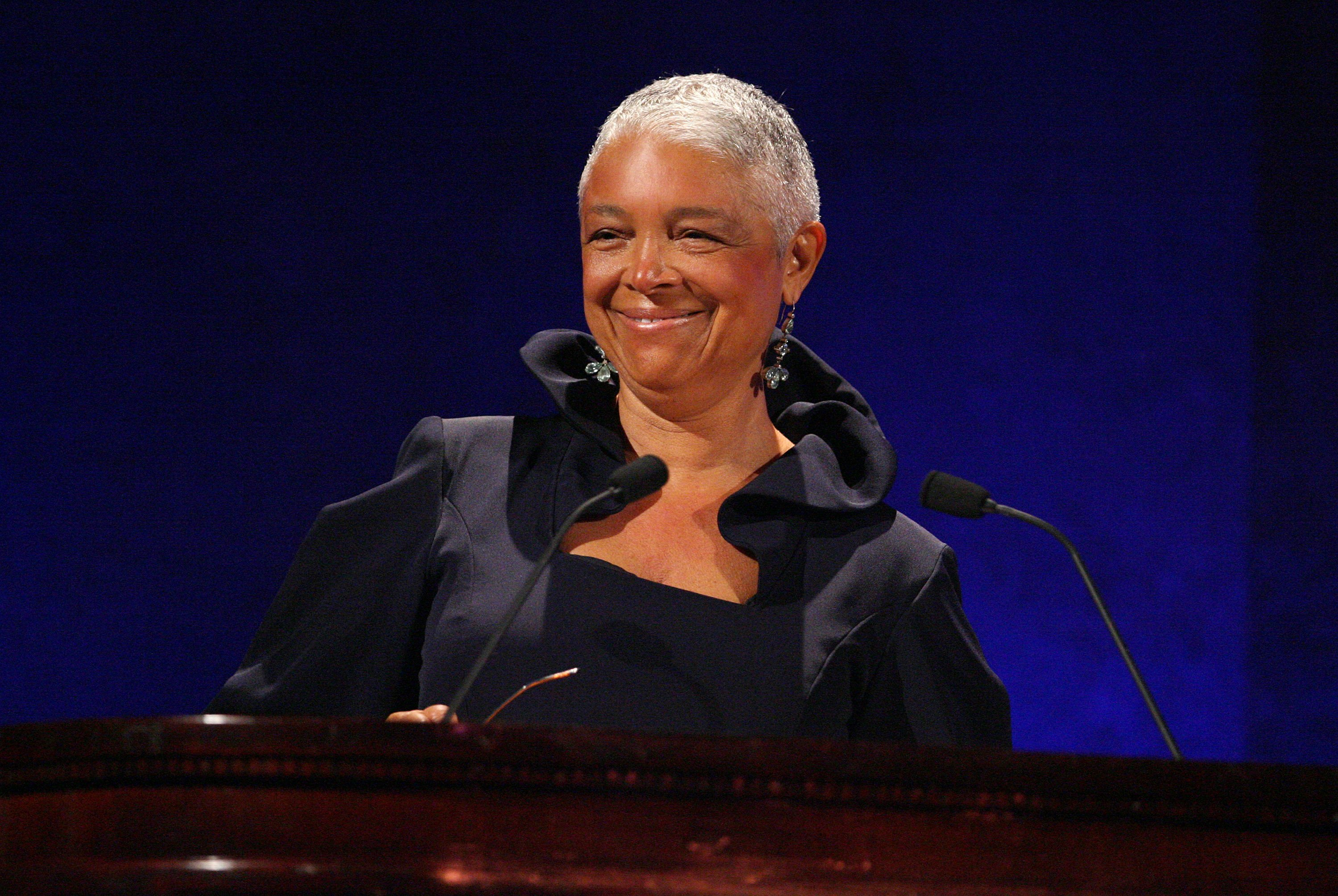 Dr. Camille Cosby speaks on stage at the 35th Anniversary of the Jackie Robinson Foundation hosted by Bill Cosby at the Waldorf Astoria hotel on March 3, 2008, in New York City.   Source: Getty Images.