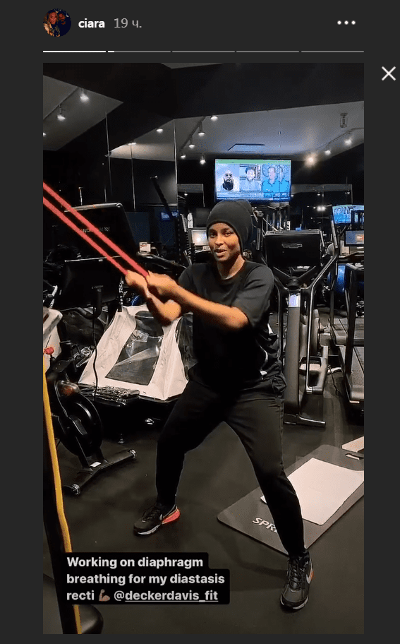 Ciara working with elastic rubber bands at the gym one month after giving birth to son Win. I Image: Instagram/ ciara