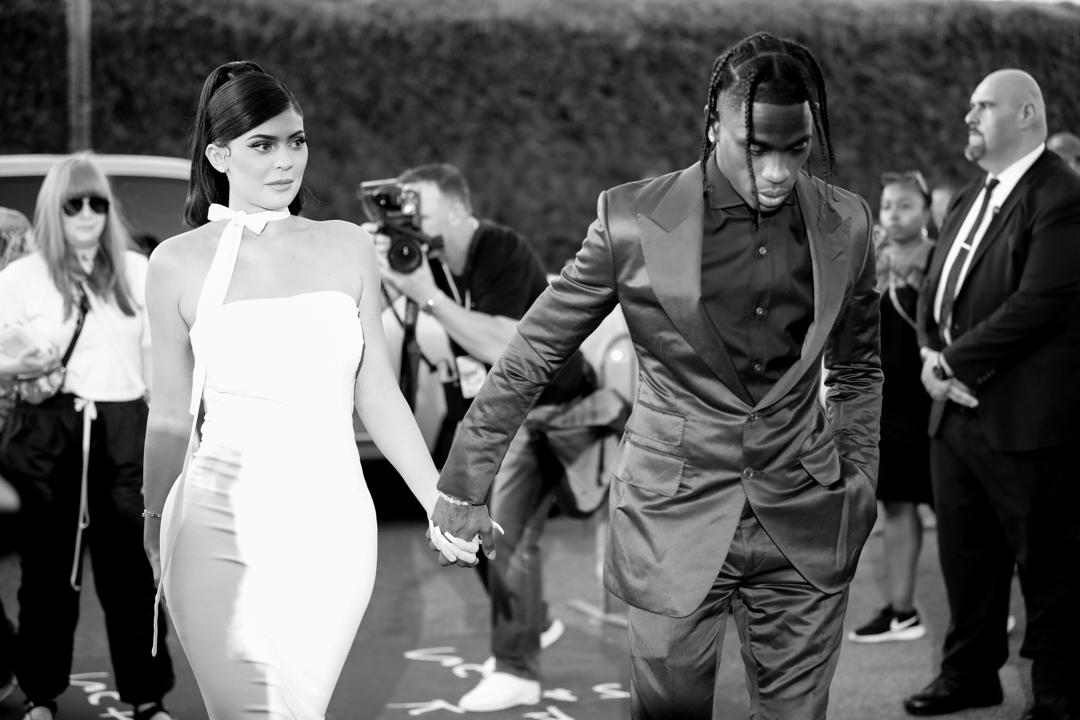 "Kylie Jenner and Travis Scott in the Netflix premiere of ""Travis Scott: Look Mom I Can Fly"" 