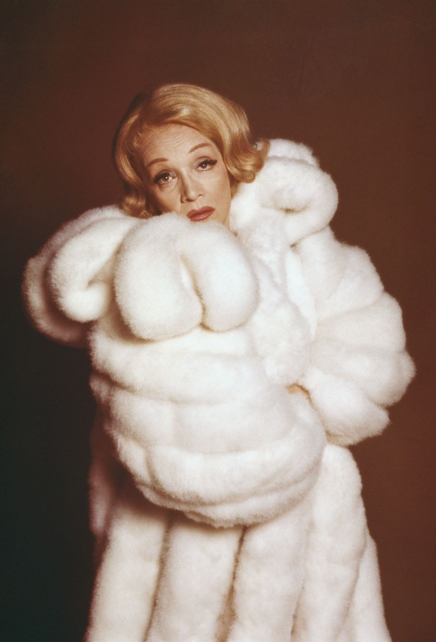 Marlene Dietrich pictured wearing a fur coat at a promotional tour for her television special on January 01, 1973 | Photo: Getty Images