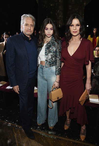 Michael Douglas, Carys Zeta Douglas, and Catherine Zeta-Jones at the Michael Kors Collection Fall 2019 Runway Show  in New York City | Photo: Getty Images