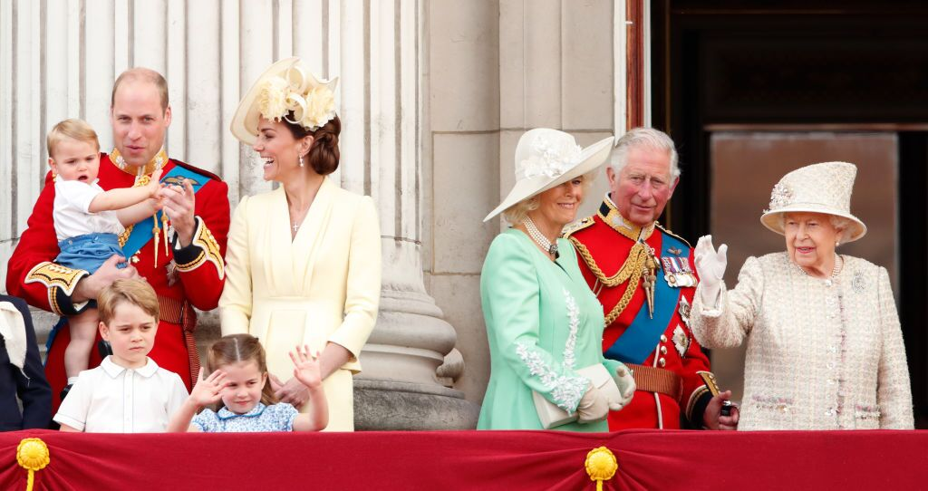 rince William, Duke of Cambridge, Catherine, Duchess of Cambridge, Prince Louis of Cambridge, Prince George of Cambridge, Princess Charlotte of Cambridge, Camilla, Duchess of Cornwall, Prince Charles, Prince of Wales and Queen Elizabeth II watch a flypast from the balcony of Buckingham Palace. | Source: Getty Images