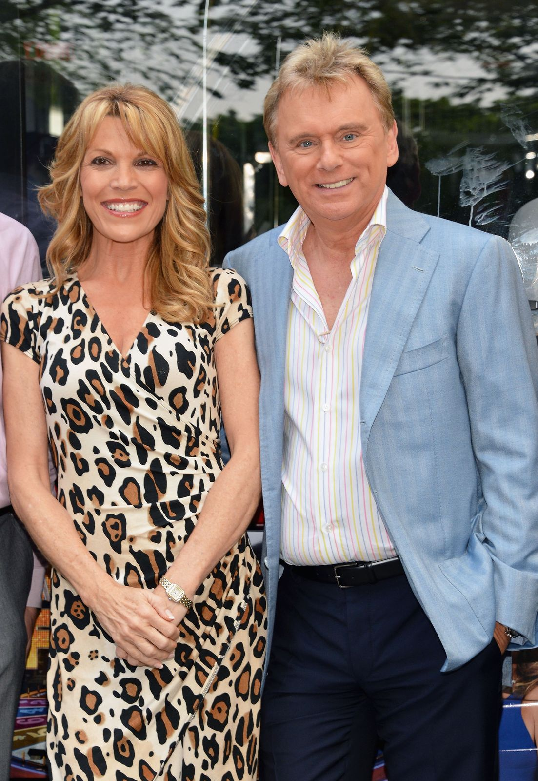Vanna White and Pat Sajak are honored by Gray Line New York's Ride Of Fame Campaign in Central Park on May 23, 2012, in New York City | Photo: Slaven Vlasic/Getty Images