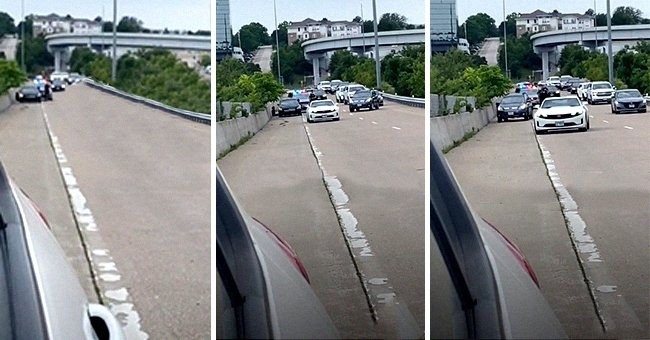 Drivers pull over their cars to check on a woman who was pulled over by cops | Photo: TikTok/sheniweird