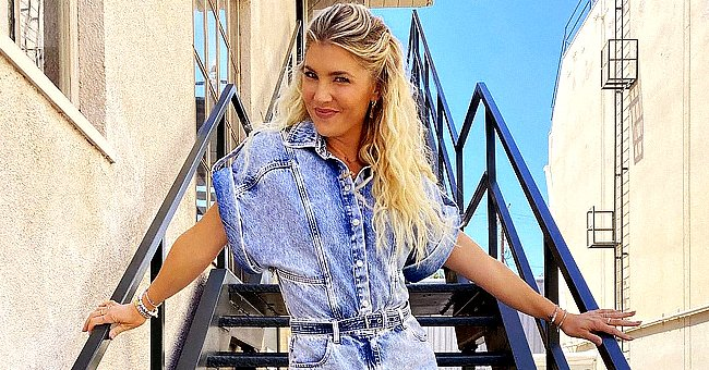 Amanda Kloots Jokes about Retro Style Outfit as She Puts Her Legs on Display in Denim Playsuit