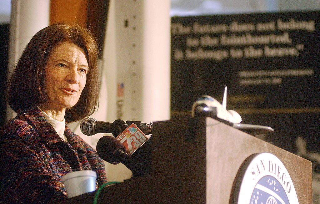 Dr. Sally Ride speaks to the media at the San Diego Aerospace Museum on February 7, 2003 in San Diego, California. | Photo: Getty Images