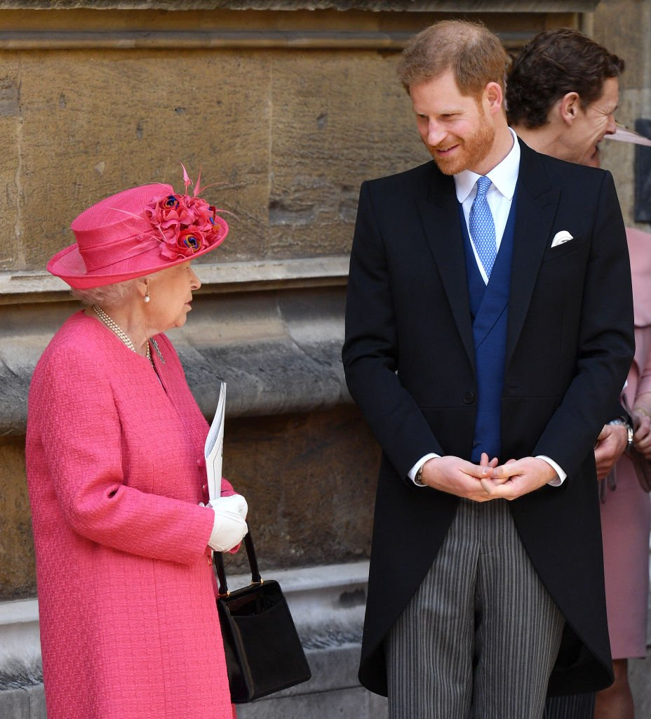 Queen Elizabeth II and Prince Harry, Duke of Sussex attend the wedding of Lady Gabriella Windsor and Thomas Kingston at St George's Chapel on May 18, 2019 in Windsor, England | Photo: Getty Images
