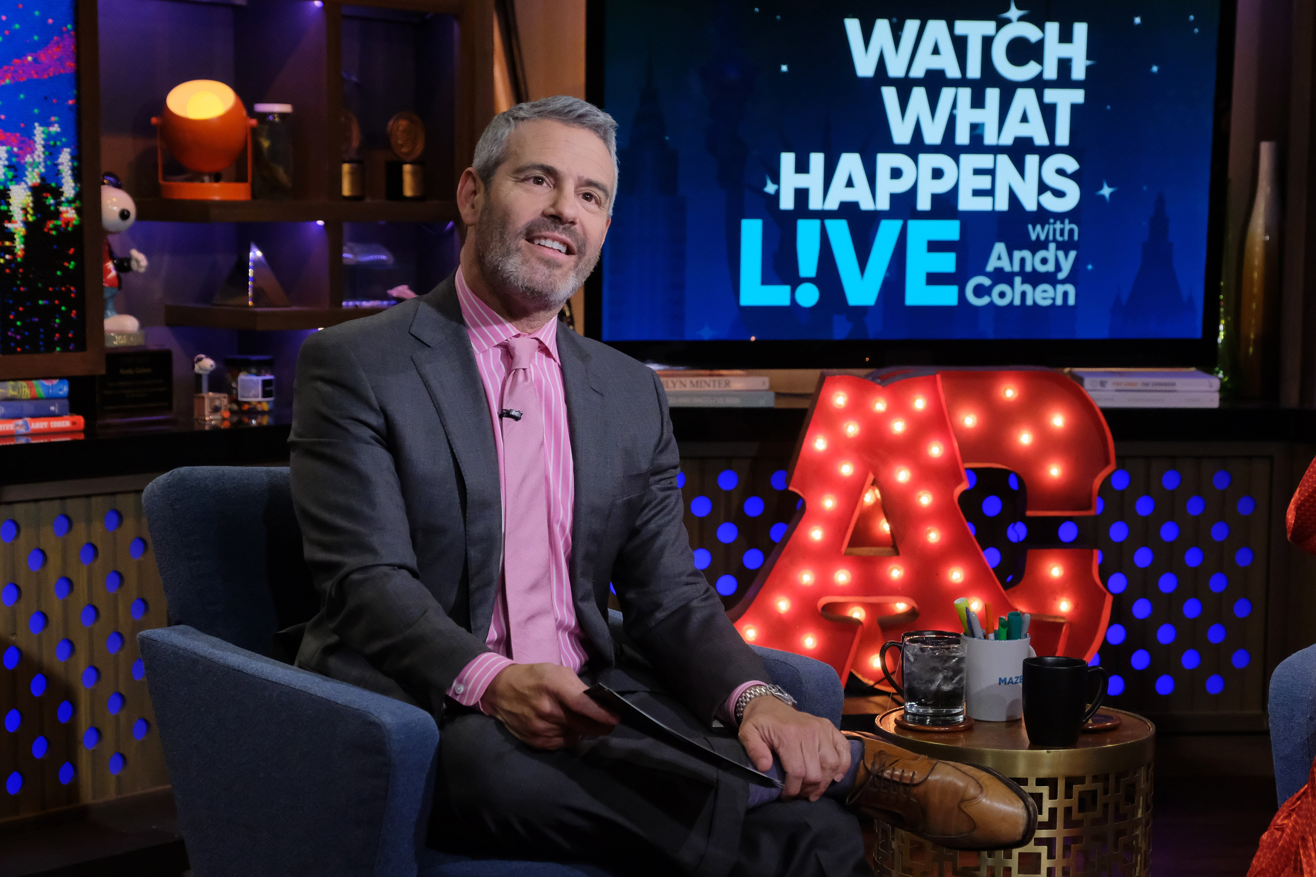"""Andy Cohen on set for his show """"Watch What Happens Live."""" 
