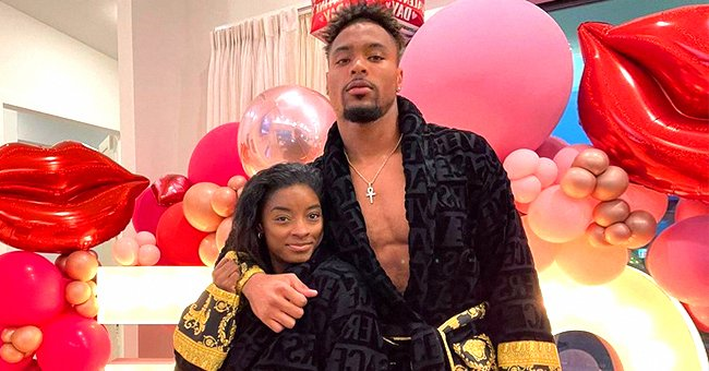 Simone Biles Gets Cozy Posing in a Photo with Boyfriend Jonathan Owens in Matching Versace Robes