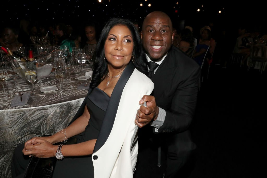 Cookie Johnson and Magic Johnson attend the 2019 NBA Awards presented by Kia on TNT on TNT at Barker Hangar | Photo: Getty Images