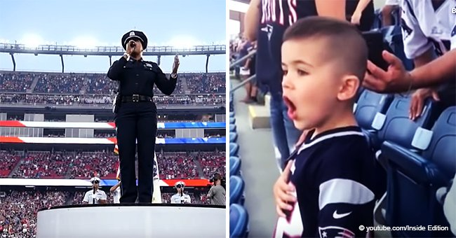 Little Boy Stole the Show at Football Game, Loudly Singing National Anthem with All His Might