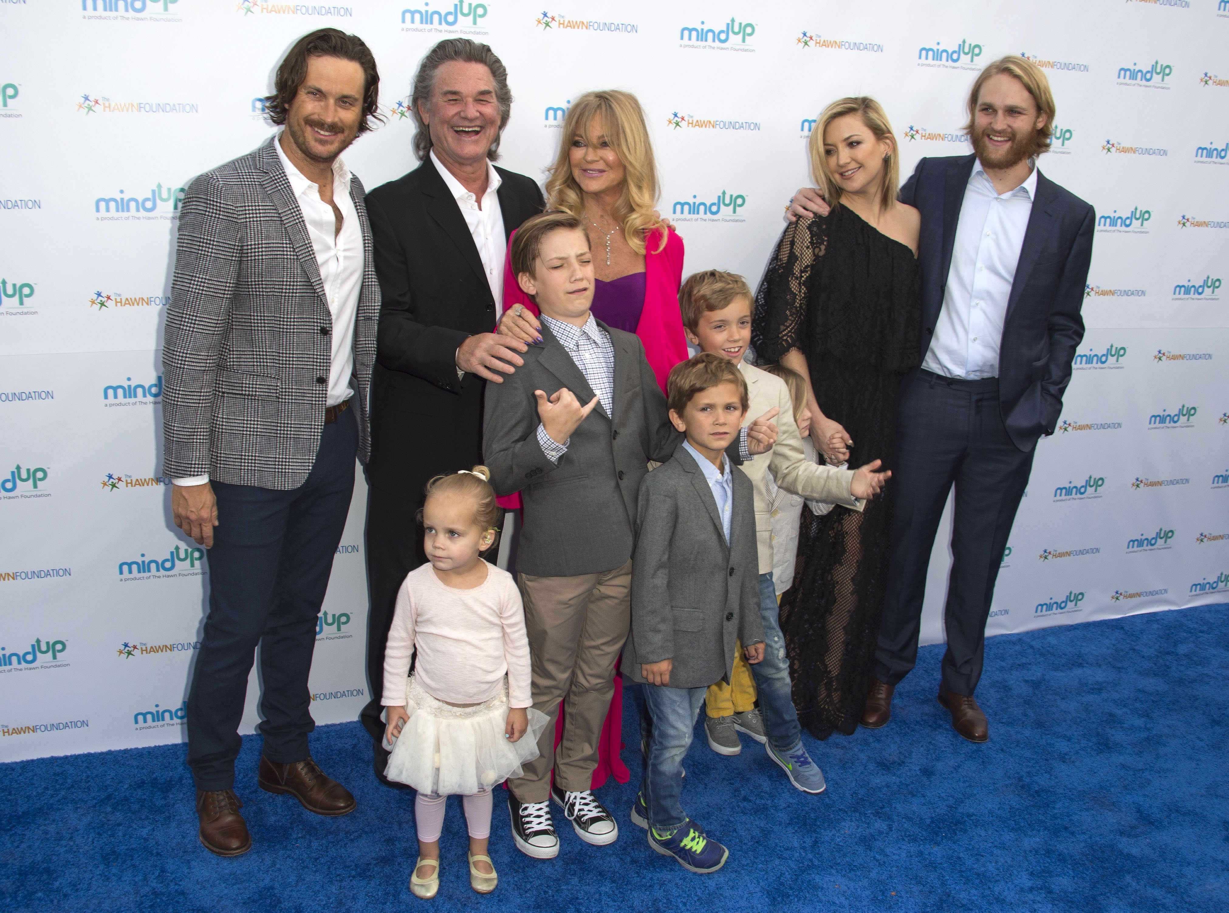 """Oliver Hudson, Kurt Russell, Goldie Hawn, Wyatt Russell and Kate Hudson with kids Ryder Robinson, Wilder Hudson, Bodhi Hudson, Rio Hudson and Bingham Bellamy attend Goldie Hawn's Annual """"Goldie's Love in for Kids"""" Event, in Beverly Hills, California, on May 6, 2016. 