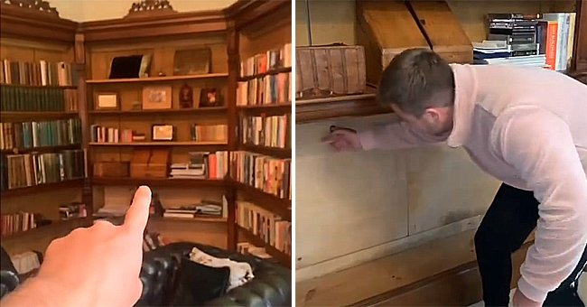 A man points out a bookshelf that was hiding mysterious rooms in his house | Photo: Instagram/freddygoodallofficial
