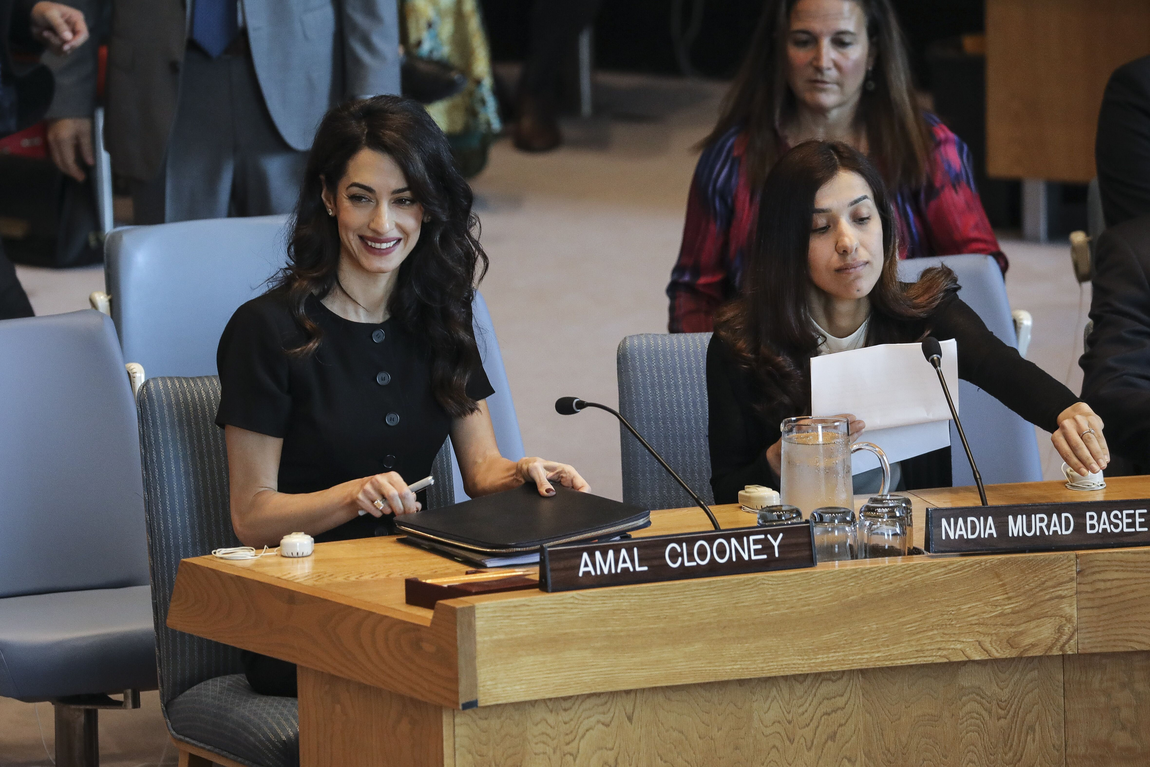 Amal Clooney and Iraqi human rights activist Nadia Murad Basee Taha attend a United Nations Security Council meeting at U.N. headquarters in 2019 in New York | Source: Getty Images