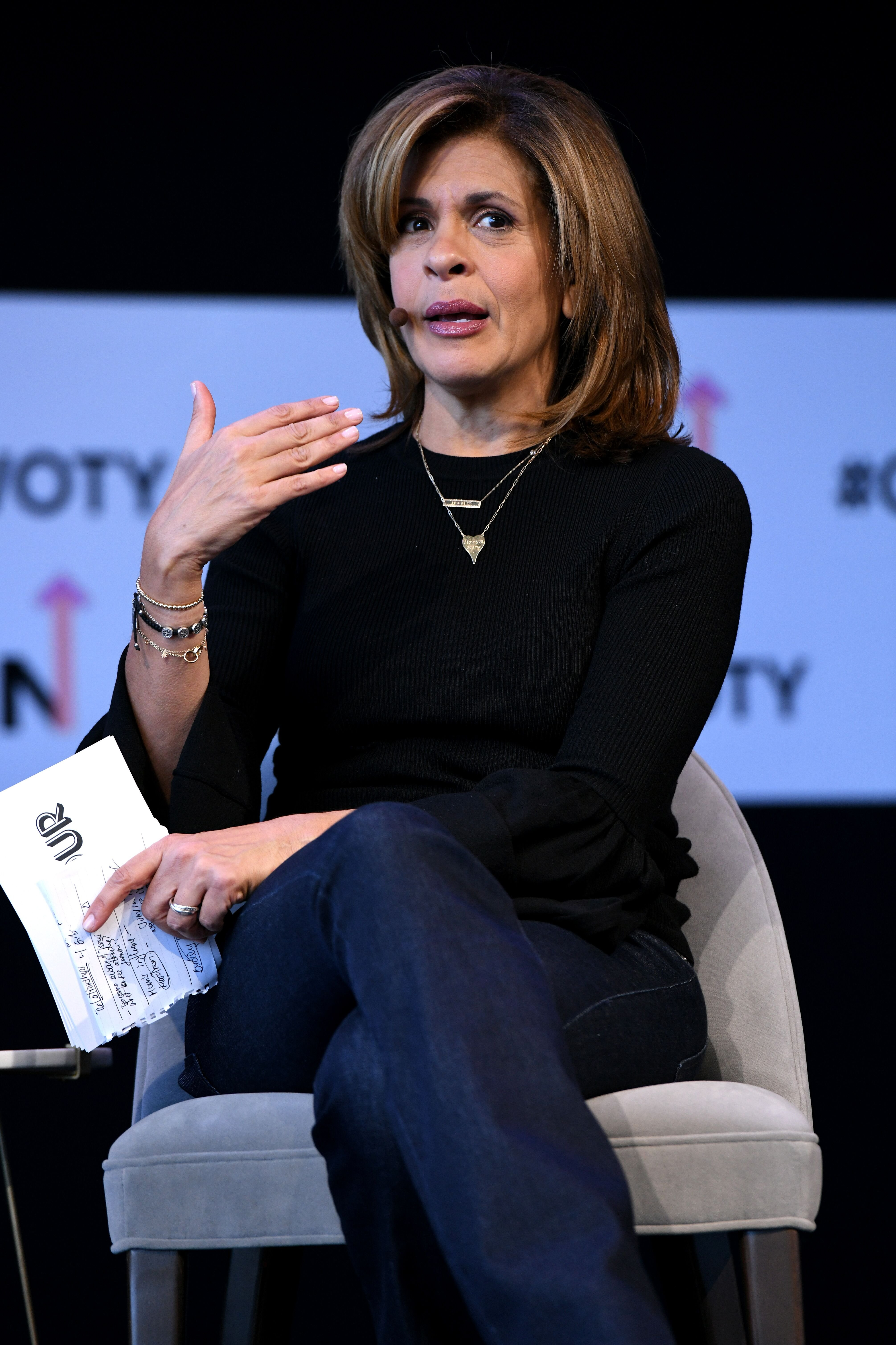 "Hoda Kotb speaks onstage during ""Closing The Dream Gap: Showing Girls (and Ourselves) What's Next"" panel at 2018 Glamour Women Of The Year Summit: Women Rise at Spring Studios on November 11, 2018 