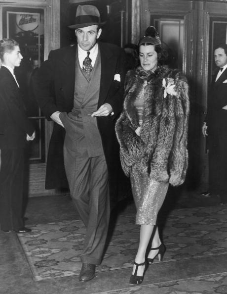 "Gary Cooper and and Veronica Balfe arriving at a preview of director WS Van Dyke's film, ""Rosalie,"" in 1938. 