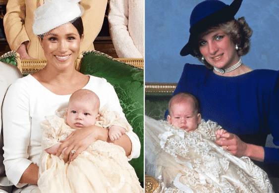 Duchess Meghan holding Archie and Princess Diana cradling Prince Harry   Photo: Getty Images/Chris Allerton
