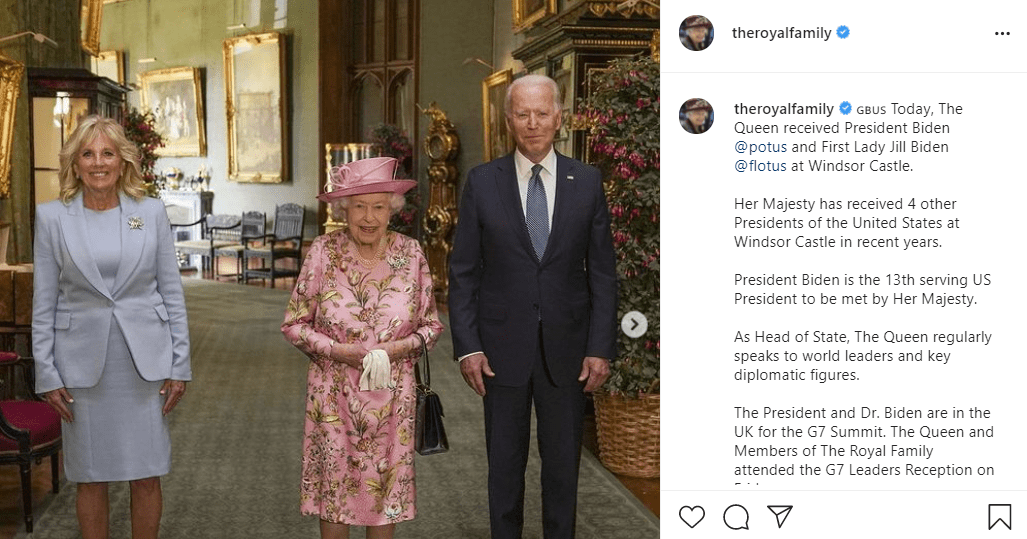The Queen receiving President Joe Biden and First Lady Jill Biden at Windsor Castle on June 13, 2021   Photo: Instagram/@theroyalfamily
