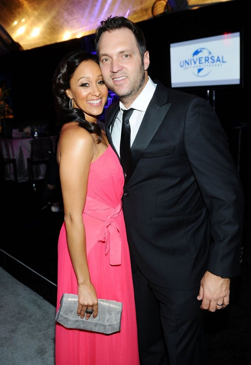 Tamera Mowry and Adam Housley attending 69th Annual Golden Globes Viewing and After Party in Beverly Hills, California in January 2012.   Image: Getty Images.