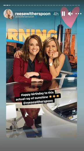 """Jennifer Aniston wished her """"The Morning Show"""" co-host Reese Witherspoon for her birthday. 
