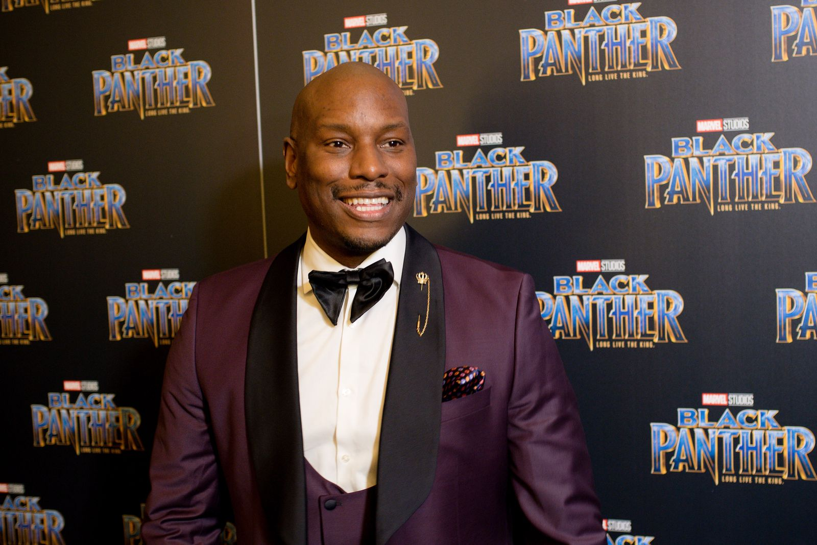 """Singer Tyrese Gibson at Marvel Studios' """"Black Panther"""" Atlanta movie screening at The Fox Theatre on February 7, 2018. 