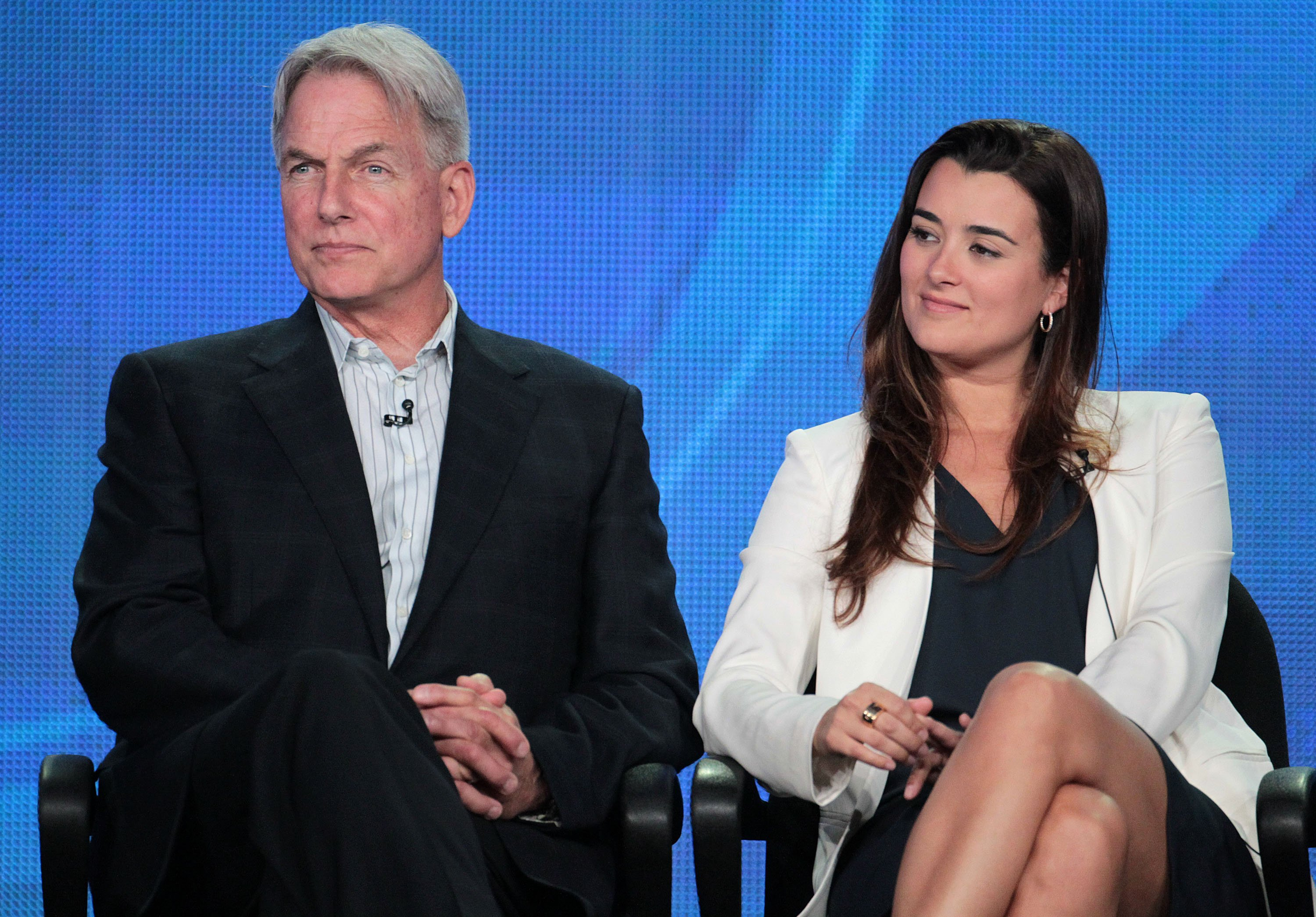 Mark Harmon and Cote de Pablo speak during the Television Critics Association Press Tour on January 11, 2012, in Pasadena, California. | Source: Getty Images.
