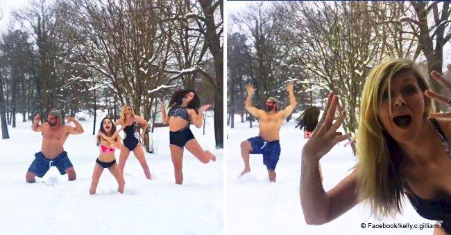 NC family goes viral for having swimsuit dance party in winter storm